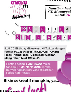 #CC16th Birthday Giveaways
